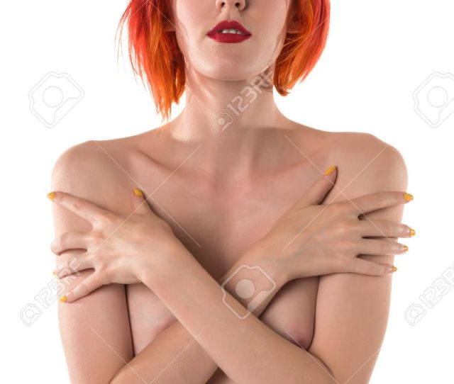 Pretty Slim Pale Nude Woman With Dyed Red Hair Stock Photo 42090990