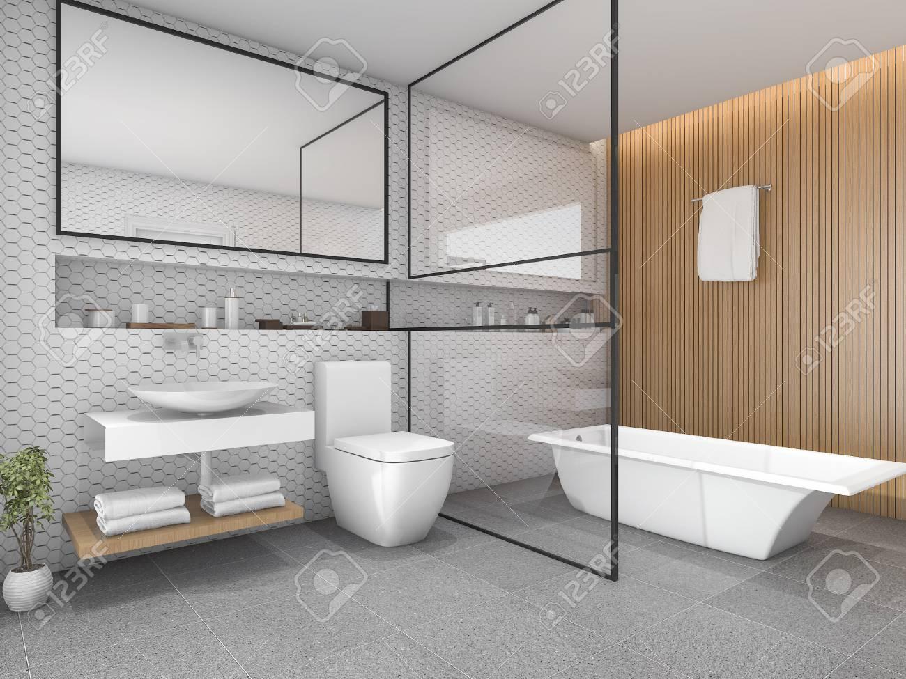 salle de bains carrelage hexagone blanc rendu 3d avec decor en bois