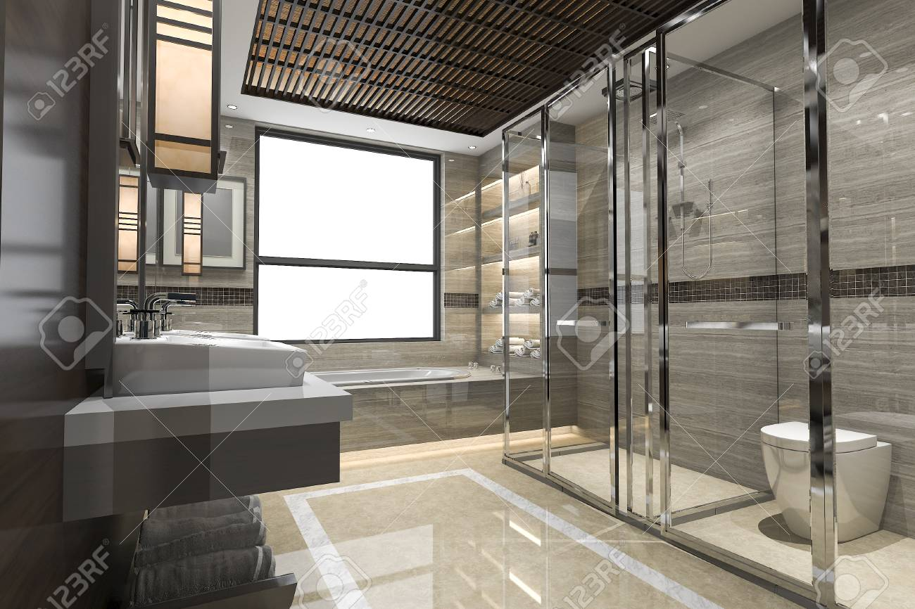 3d rendering modern loft bathroom with luxury tile decor with