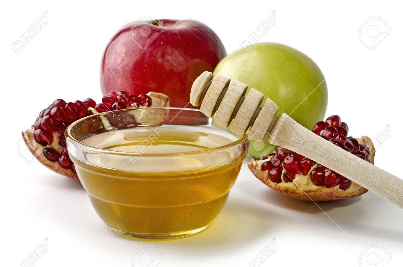 Apples  Pomegranate And Bowl Of Honey Over White  Illustration     Apples  pomegranate and bowl of honey over white  Illustration of Rosh  Hashanah  jewish