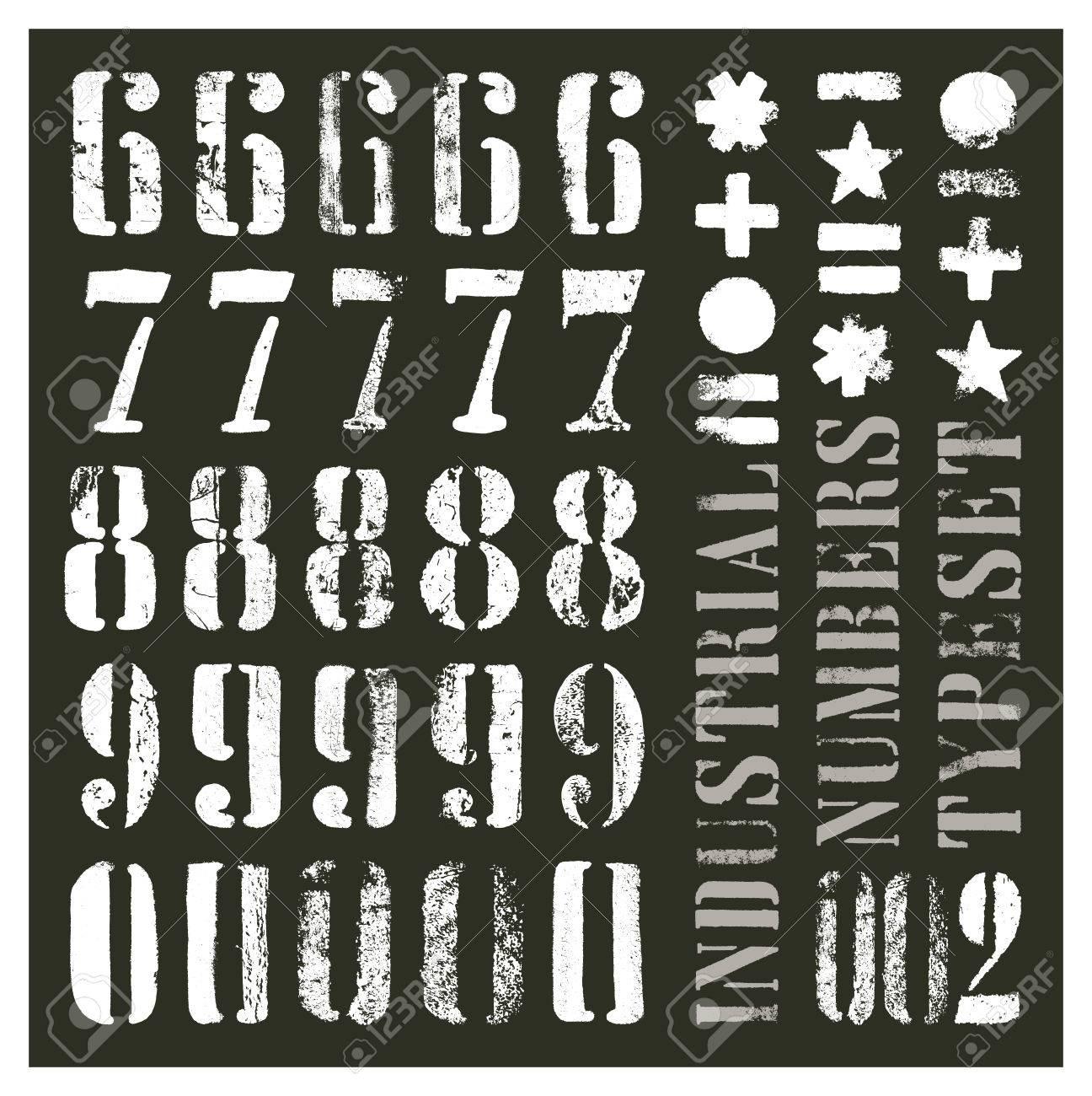 Numeros De Grunge De Pochoir Industriel Au Moins Cinq Alternatives Par Glyphe Clip Art Libres De Droits Vecteurs Et Illustration Image 66133388