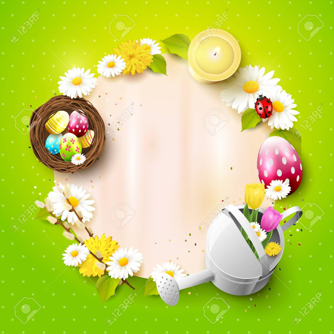 Cute Easter Background With Decorations And Empty Paper With