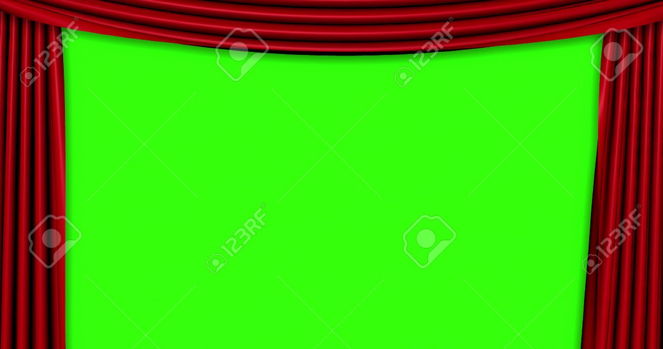 open red curtain movement background with chroma key green screen