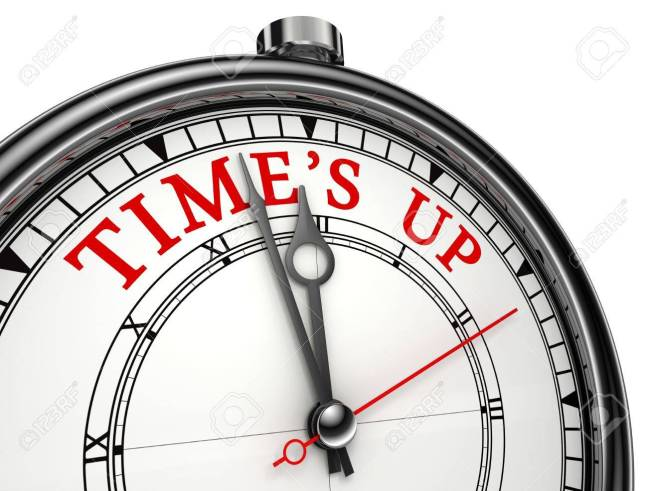 Time Is Up Concept Clock Closeup Isolated On White Background ...