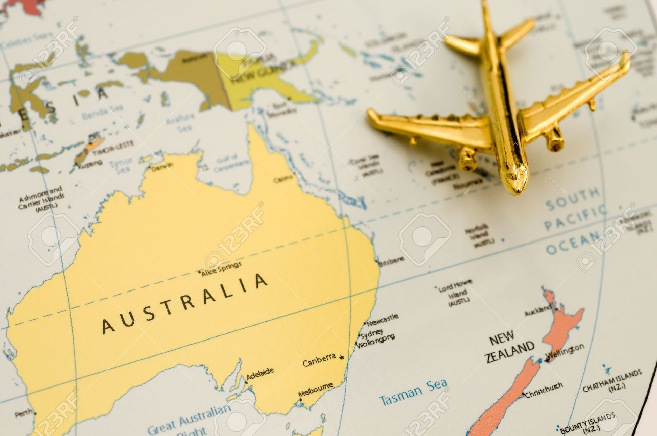 Plane Over Australia   Map Is Off Government Website Stock Photo     Plane Over Australia   Map is Off Government Website Stock Photo   9135952