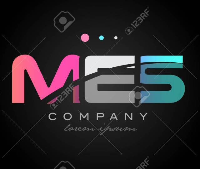 Mes M E S Three 3 Letter Logo Combination Alphabet Vector Creative Company Icon Design Template Modern Pink