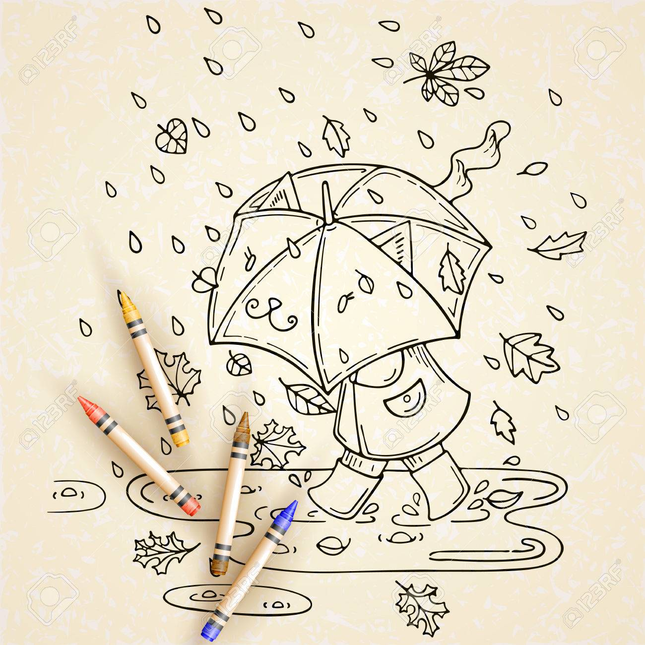 Vector Illustration Of Cute Kid With Umbrella In Rainy Season Royalty Free Cliparts Vectors And Stock Illustration Image 50226762