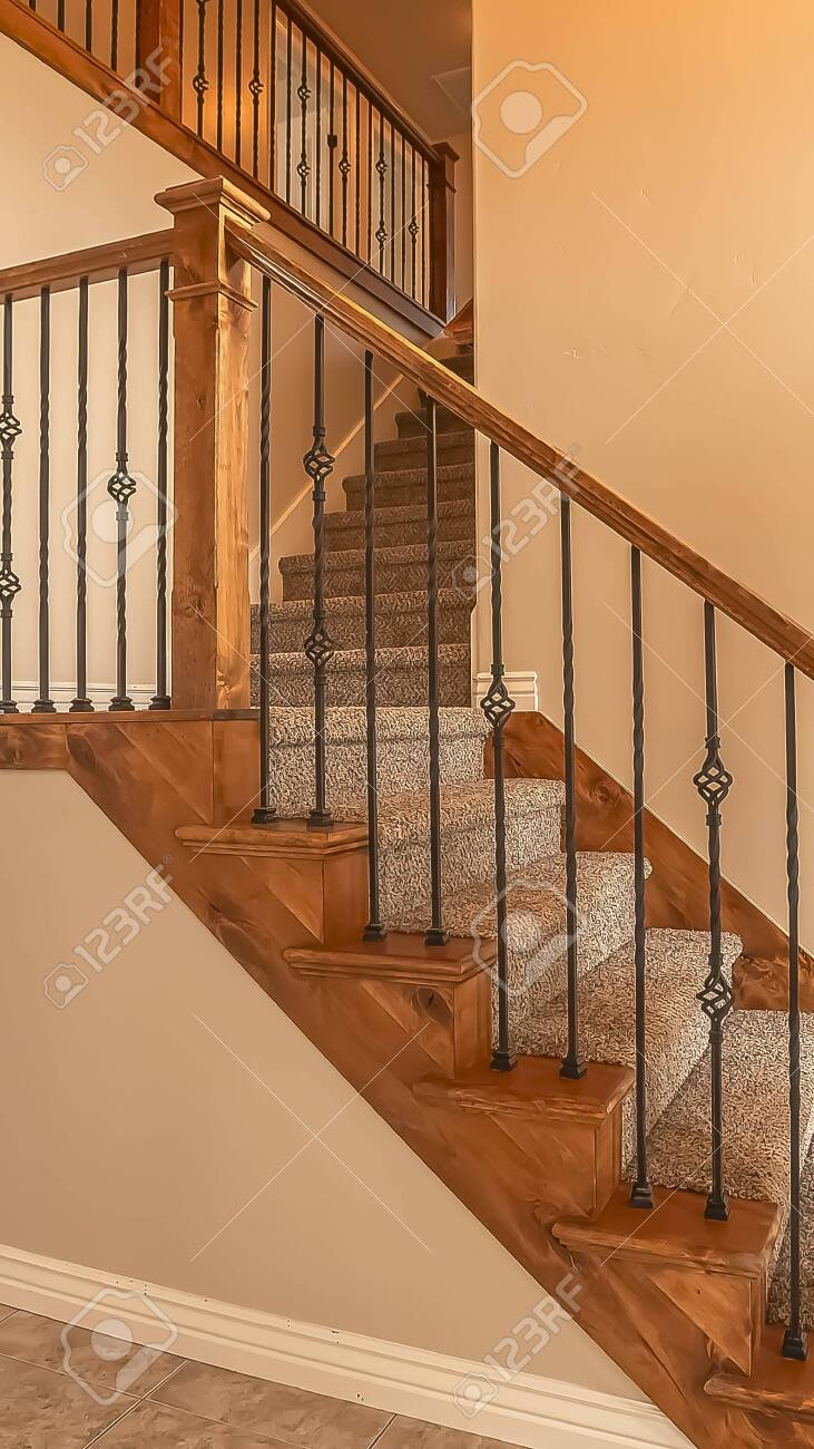 Vertical Frame Carpeted Stairs With Wood Handrail And Metal   Metal And Wood Stairs   Straight   Diy   Residential   Rustic   Stair Railing