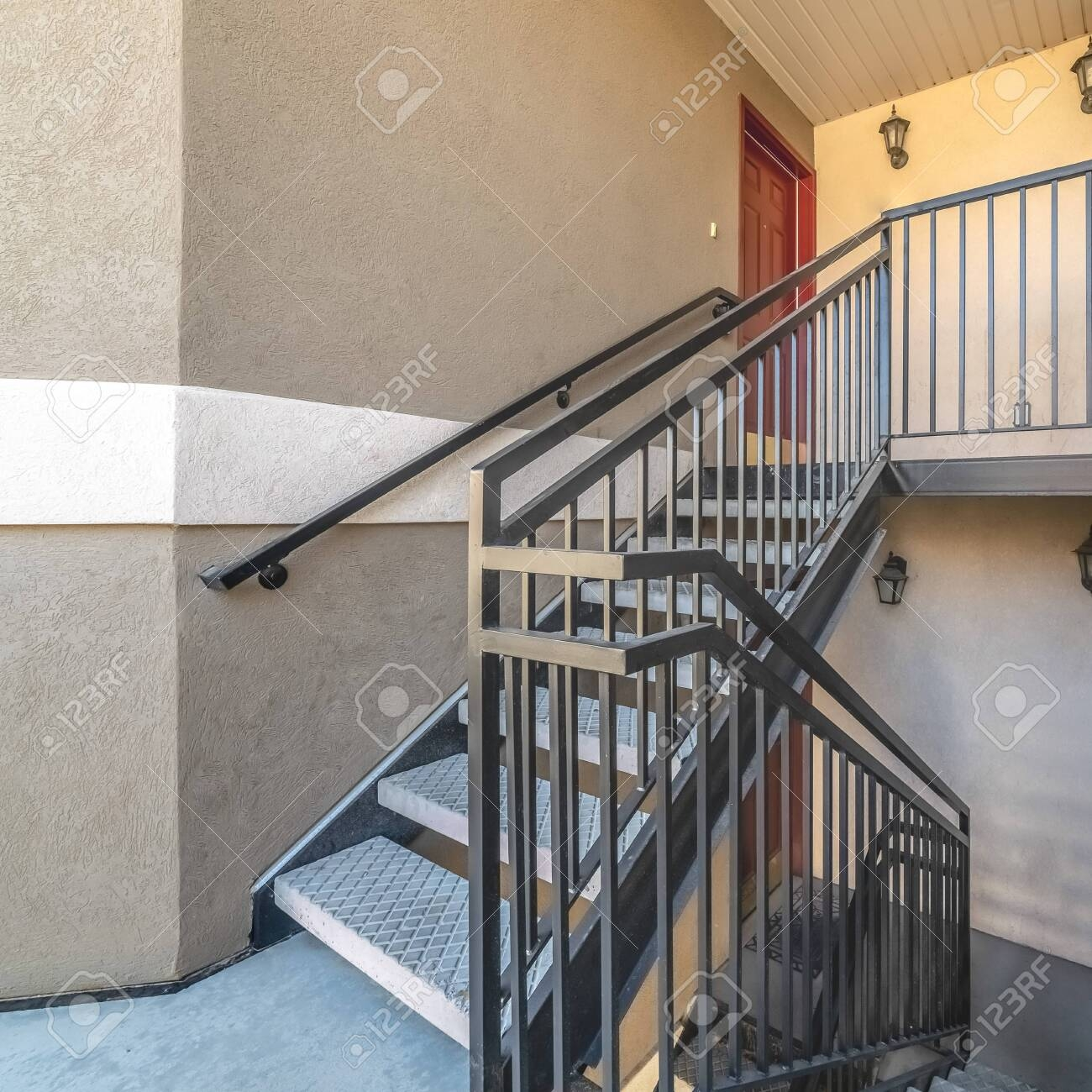 Square Interior Stairs And Landing With Bannister Rail Stock Photo | Bannister Rails For Stairs | Pipe | Build Stair | Deck | Outdoor | 5 Step