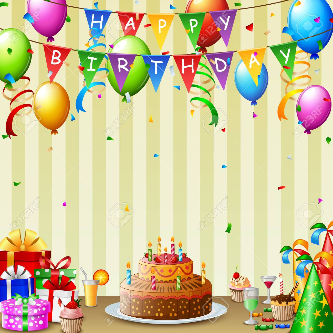 Birthday Background With Birthday Cake And Colorful Balloon Stock Photo Picture And Royalty Free Image Image 94442707