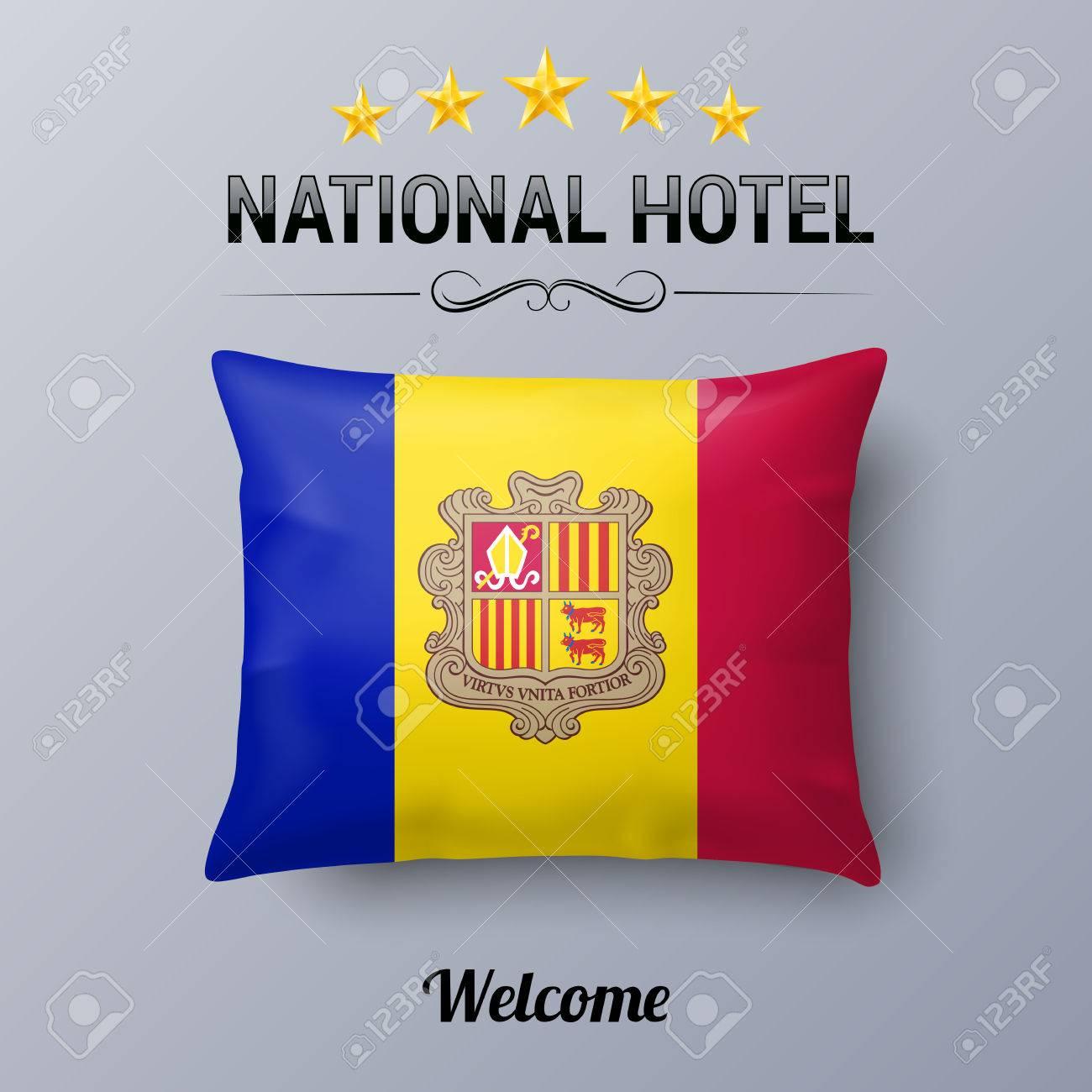 banque d images oreiller realiste et drapeau d andorre comme symbole national hotel couverture d oreiller de drapeau avec drapeau andorran