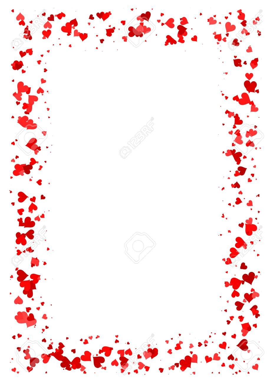 cadre rectangle abstraite faite de coeurs rouges isoles sur fond blanc papier a4 avec bordure de motif d amour carte de saint valentin