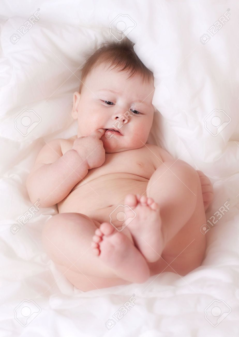 Beautiful Naked Baby Boy On White Bedsheet Stock Photo Picture And Royalty Free Image Image 3091007