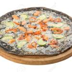 Whole Smoked Salmon Pizza With Zucchini On Black Dough On Woden Stock Photo Picture And Royalty Free Image Image 131723066