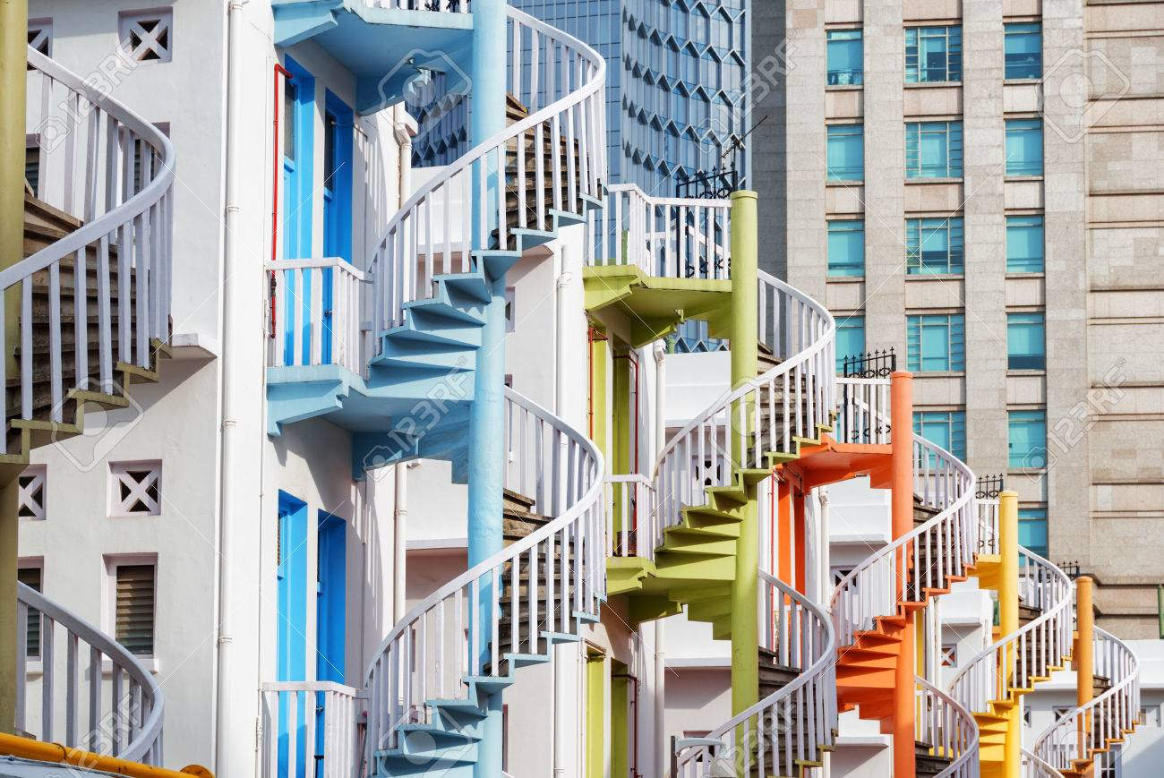 Amazing Colorful Exterior Spiral Staircases Outside A Whitewashed Stock Photo Picture And Royalty Free Image Image 78463783