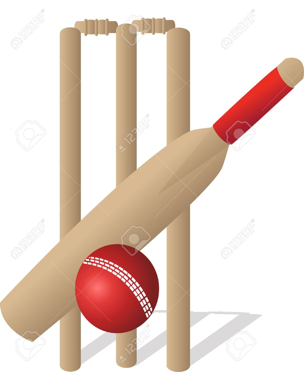 A Cricket Ball And Bat And Wickets Royalty Free Cliparts Vectors And Stock Illustration Image 7489235