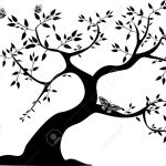 A Single Black Tree With Three Butterflies Royalty Free Cliparts Vectors And Stock Illustration Image 10283292