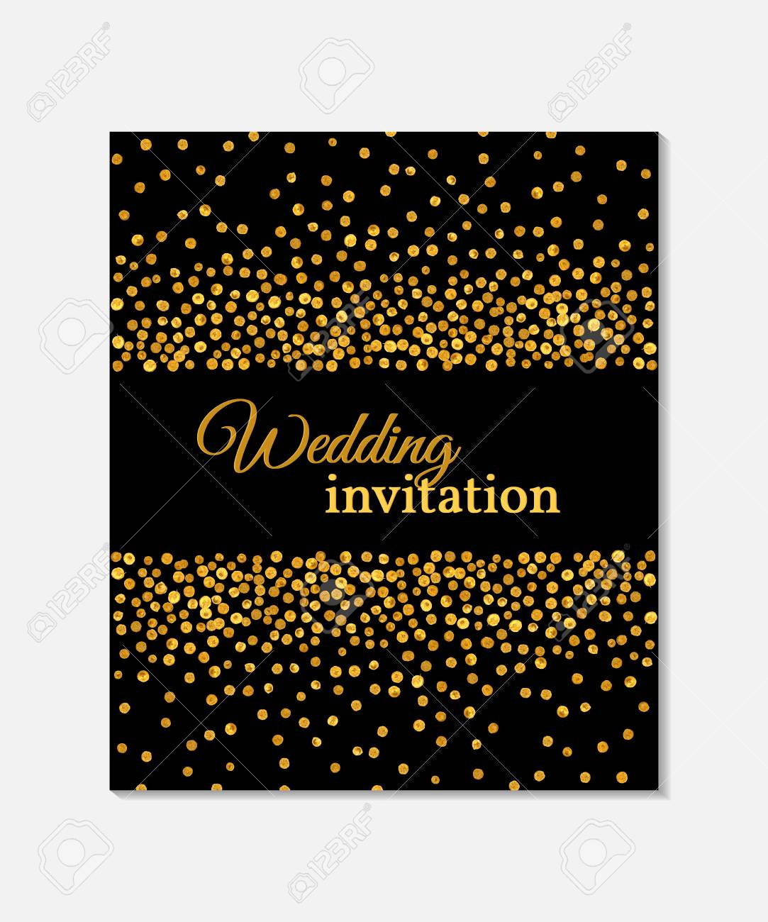 wedding invitation card with falling golden dots on black background