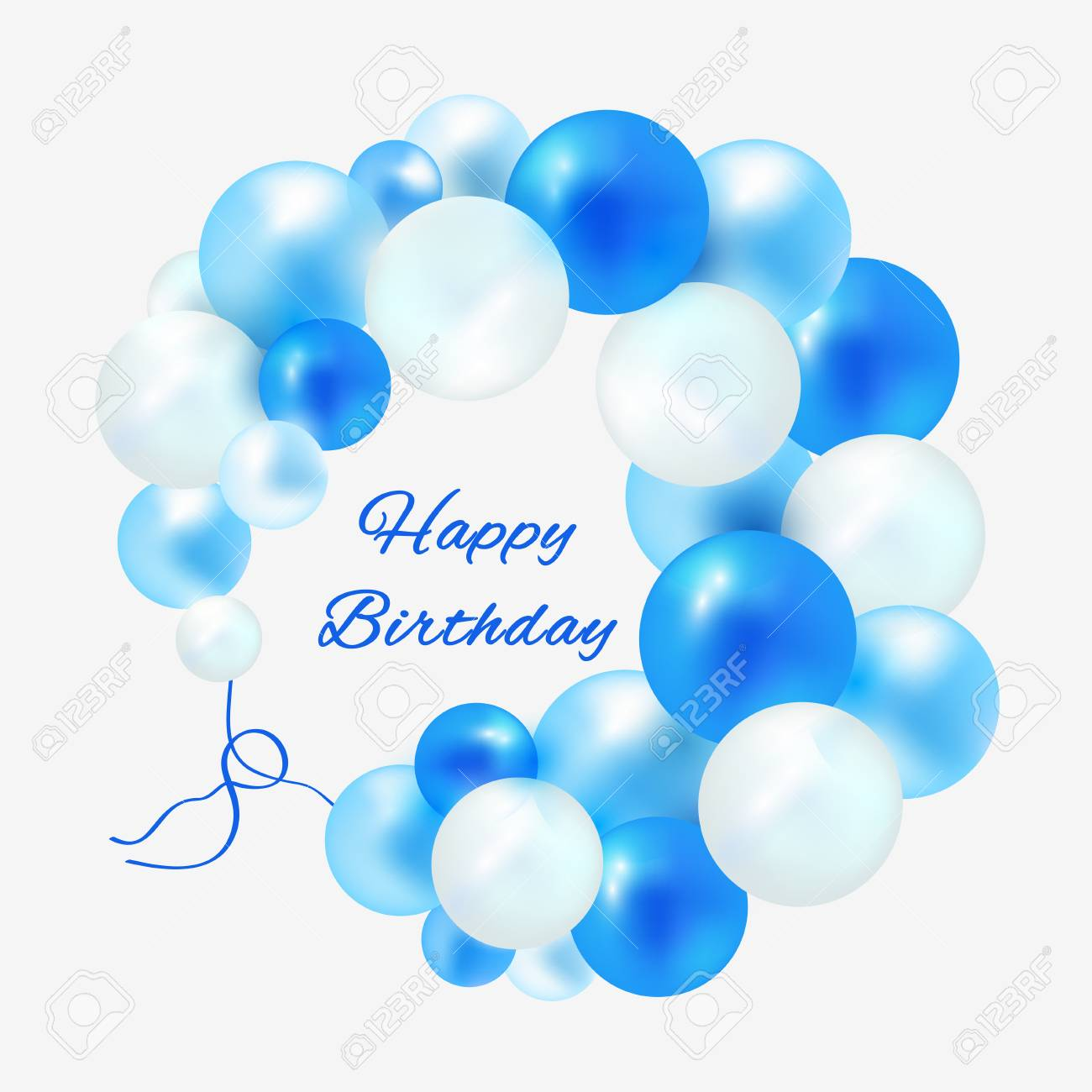 Birthday In A Frame Of Blue Balloons Royalty Free Cliparts Vectors And Stock Illustration Image 101838724