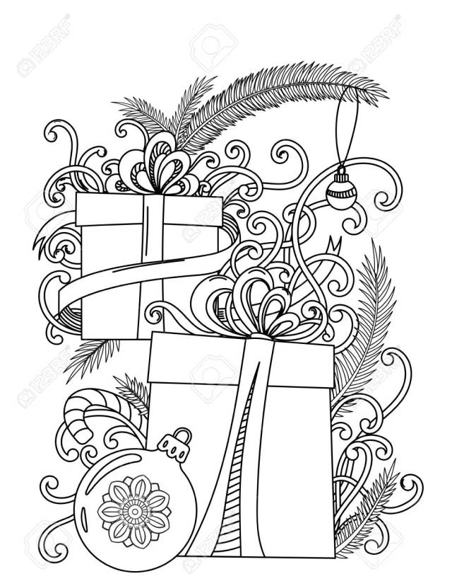 Christmas Coloring Page. Adult Coloring Book. Holiday Gifts And