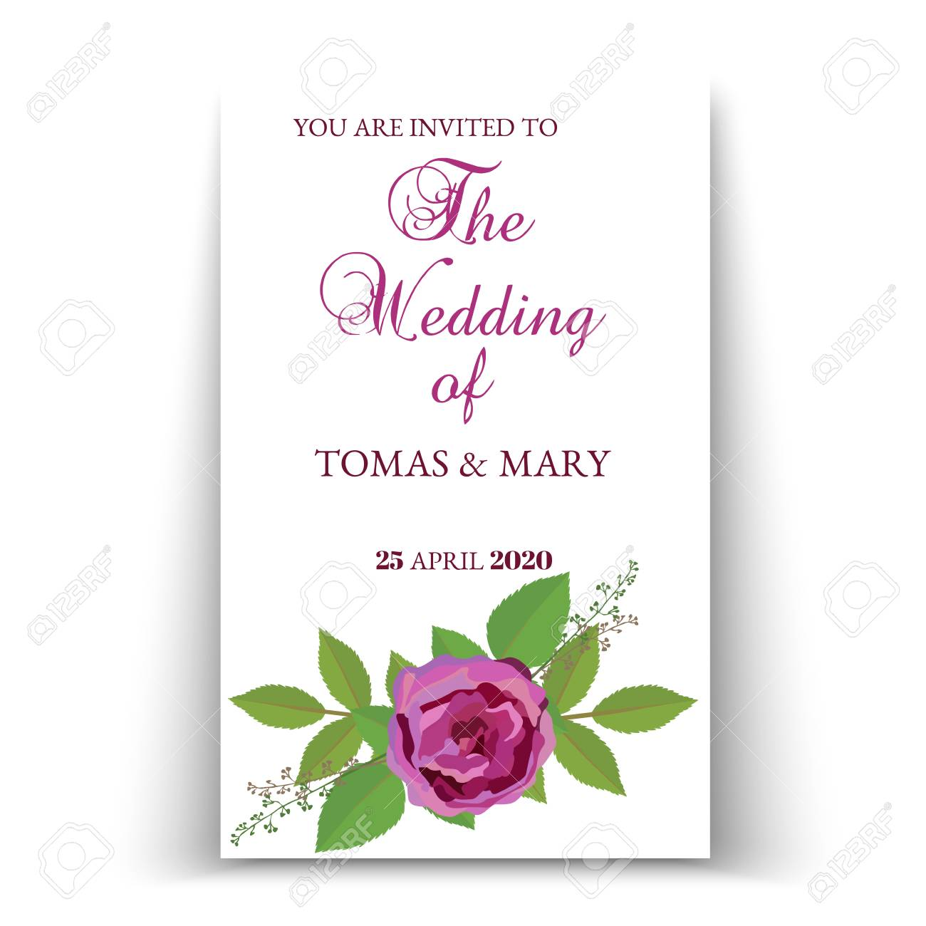 greenery rustic wedding invitation template with rose and leaf