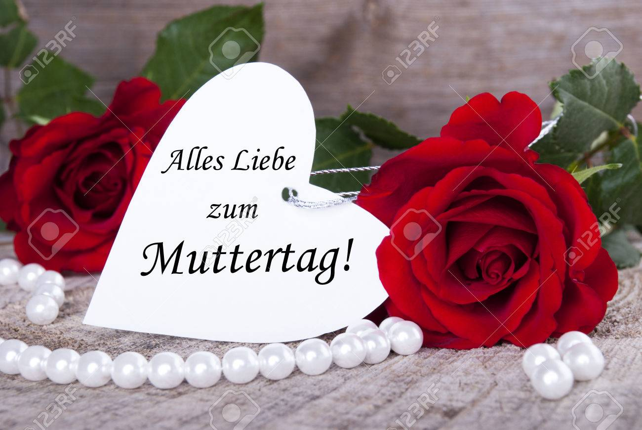 Heart Label With The German Words Alles Liebe Zum Muttertag Which