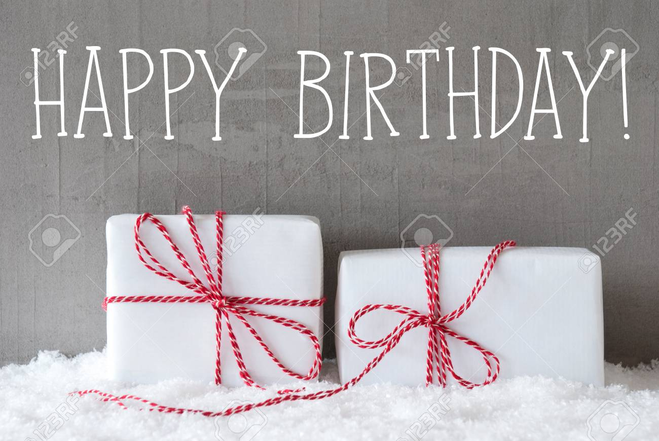 English Text Happy Birthday Two White Christmas Gifts Or Presents Stock Photo Picture And Royalty Free Image Image 65882774