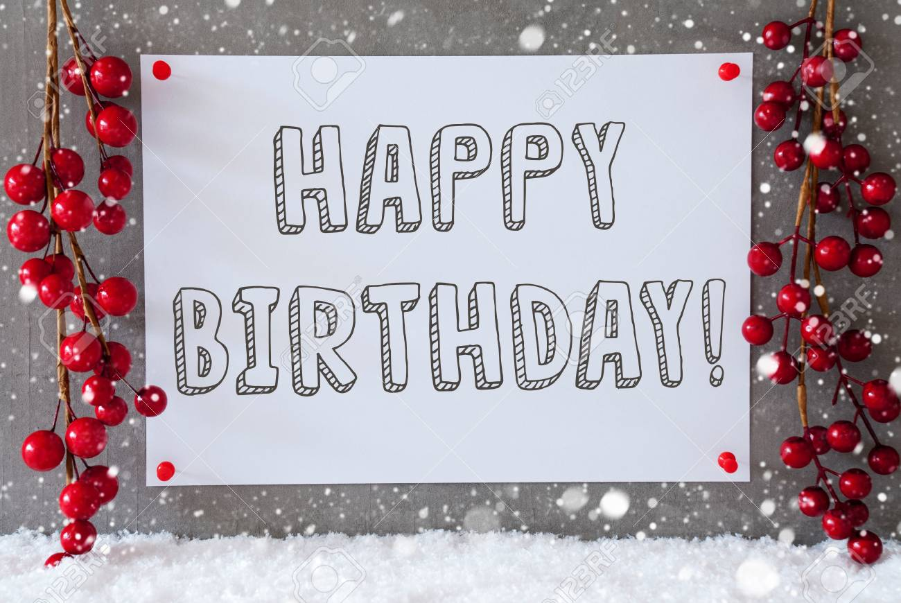 Label With English Text Happy Birthday Red Christmas Decoration Stock Photo Picture And Royalty Free Image Image 66350573