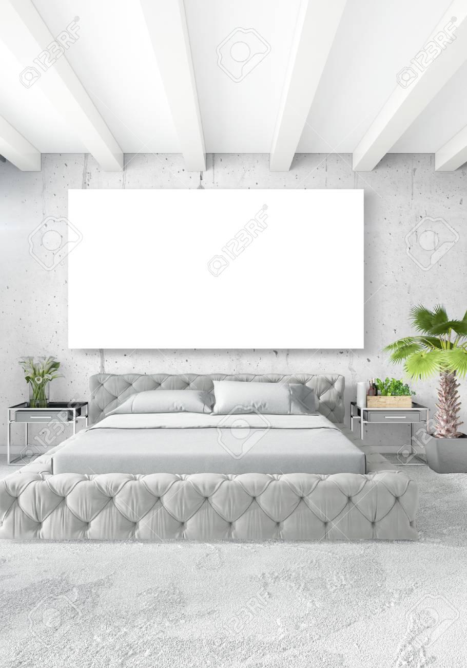chambre a coucher blanche style minimaliste design d interieur avec paroi en bois et canape gris rendu 3d