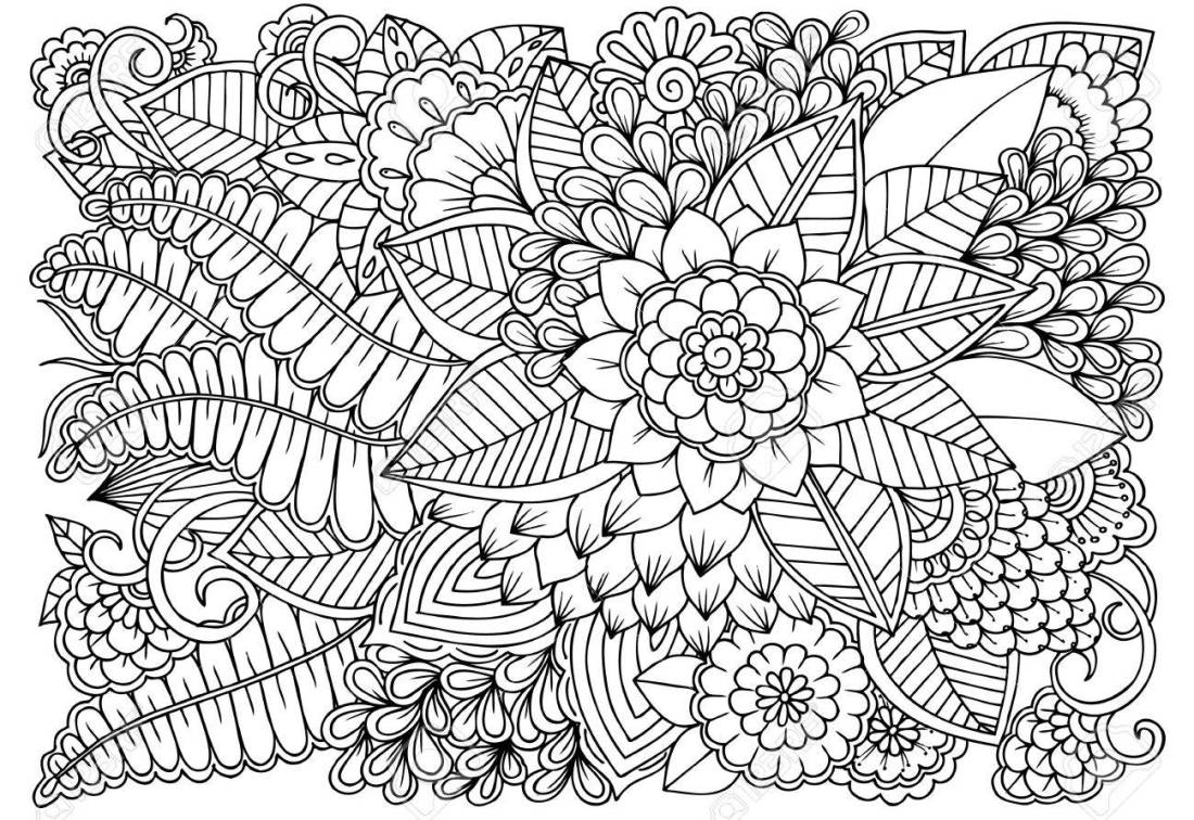 black and white flower pattern for adult coloring book. doodle..