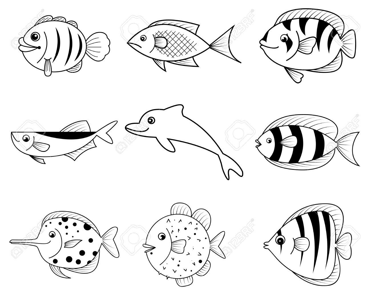 noir et blanc icones de dessin anime de poissons de mer vecteur