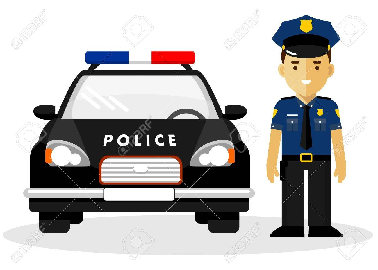 Policeman Officer On City Background With Police Car In Flat Royalty Free Cliparts Vectors And Stock Illustration Image 50996033