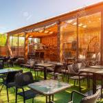 Summer Empty Outdoor Cafe At Park Bar With Modern Design Wooden Stock Photo Picture And Royalty Free Image Image 125438206