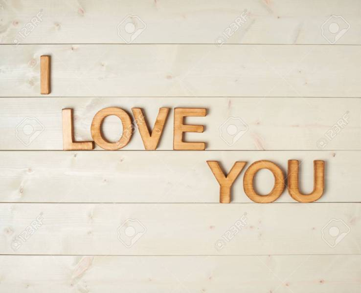 I Love You Composition Of The Block Letters Over The Wooden     I love you composition of the block letters over the wooden background  Stock Photo   37563065