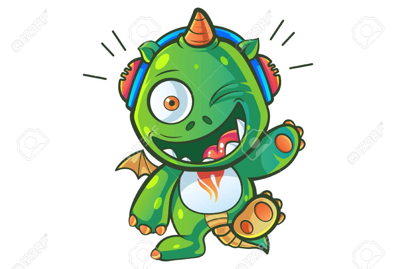 Vector Cartoon Illustration Of Cute Baby Dragon Is Listening Royalty Free Cliparts Vectors And Stock Illustration Image 117399432