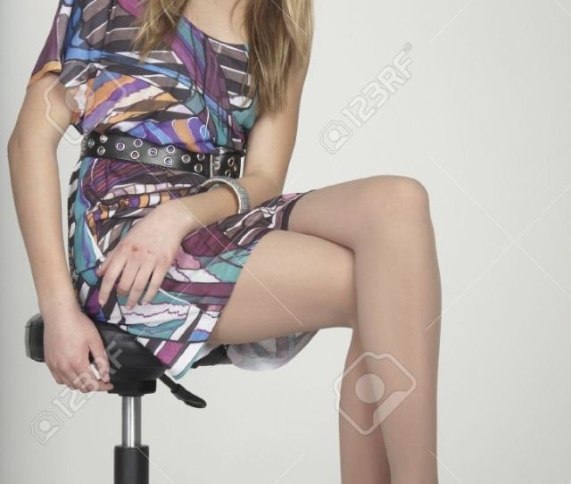 Blond Teen Girl In A Dress And Heels Stock Photo 21572810