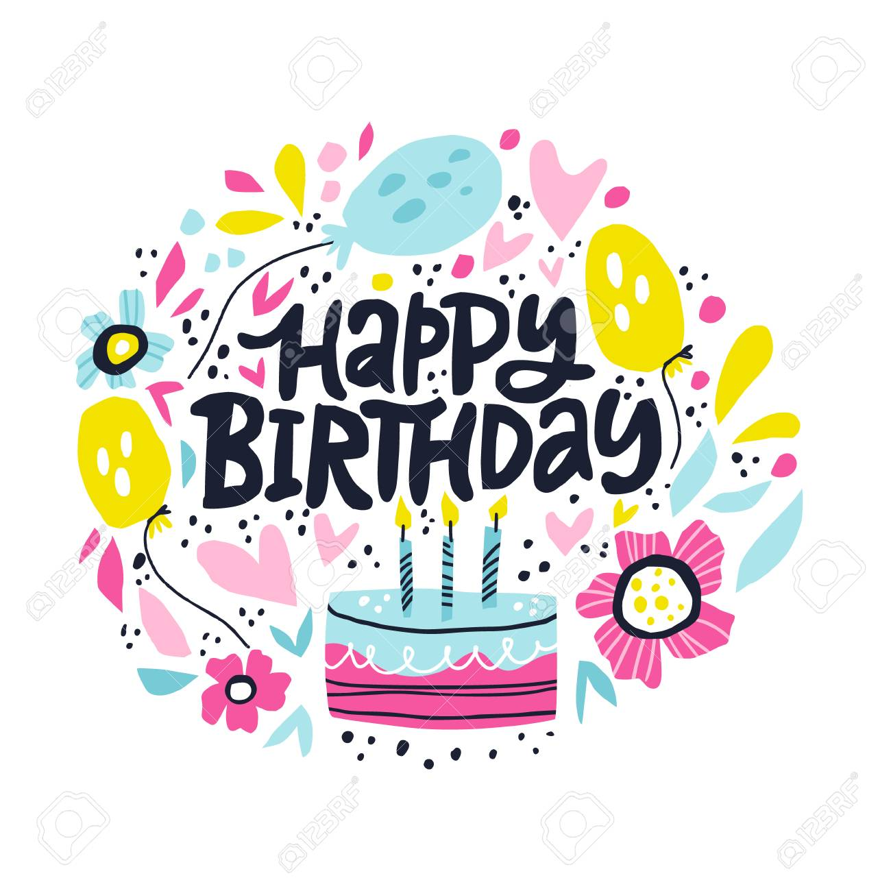 Happy Birthday Lettering In Hand Drawn Frame Congratulations Royalty Free Cliparts Vectors And Stock Illustration Image 124890956