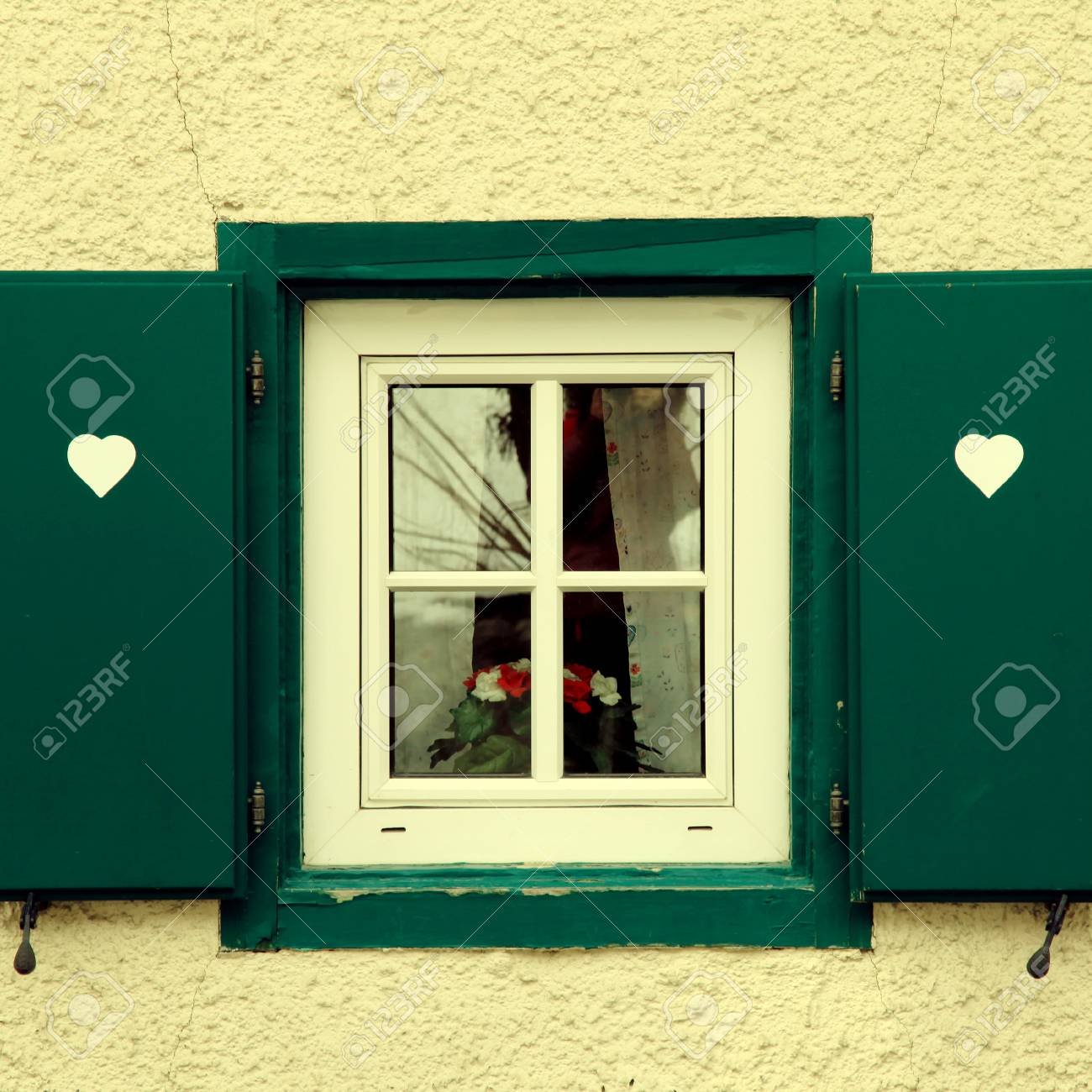 Vintage Traditional Bavarian Small Window With Green Shutters