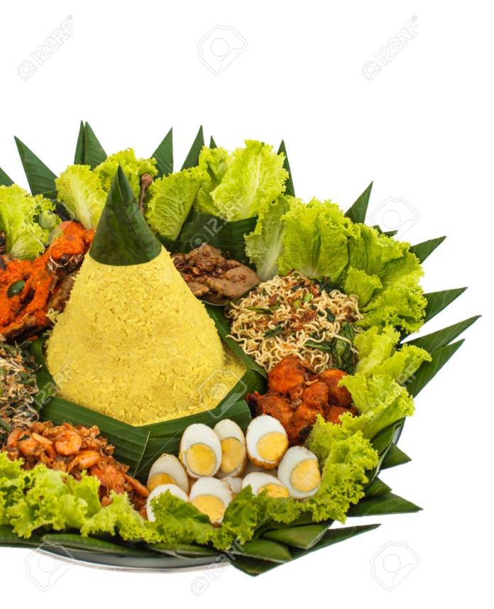 Portrait Of Indonesian Food Nasi Tumpeng For Celebration Stock Photo Picture And Royalty Free Image Image 93305204