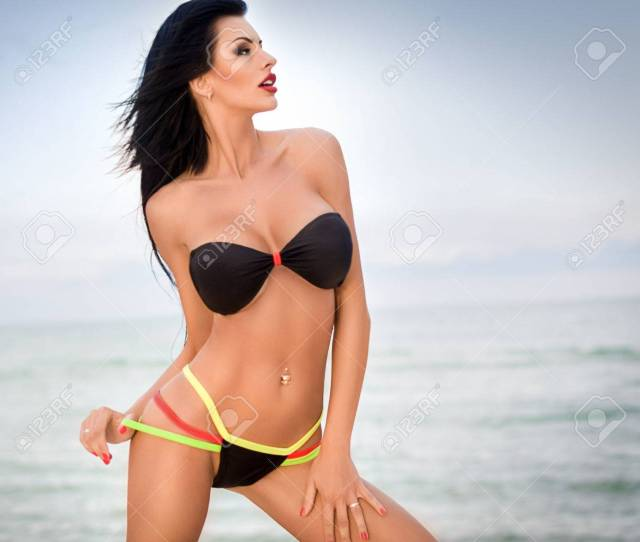 Sexy Bikini Girl Posing At Beach Stock Photo Picture And Royalty