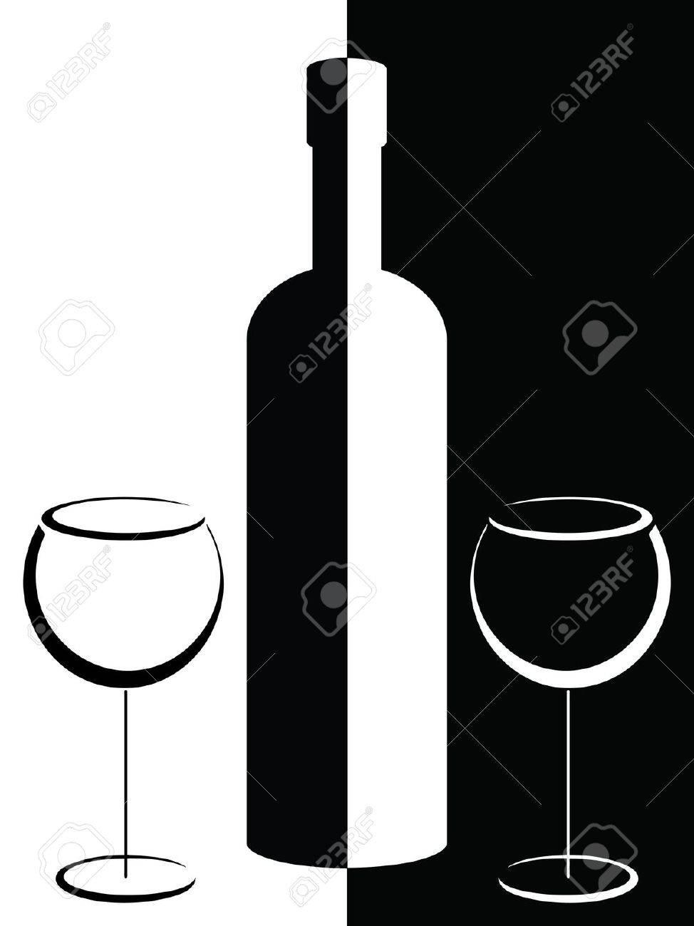 Affiche En Noir Et Blanc Avec La Bouteille Et Verres A Vin Clip Art Libres De Droits Vecteurs Et Illustration Image 13091517