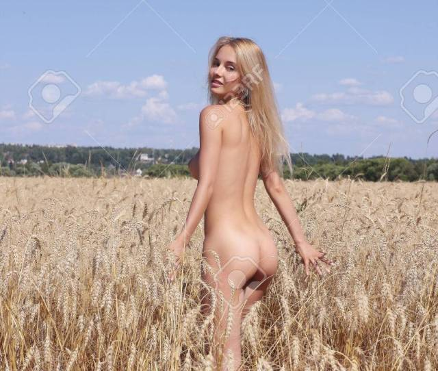 Stock Photo Young Naked Woman Of Rye Nude Girl In The Field
