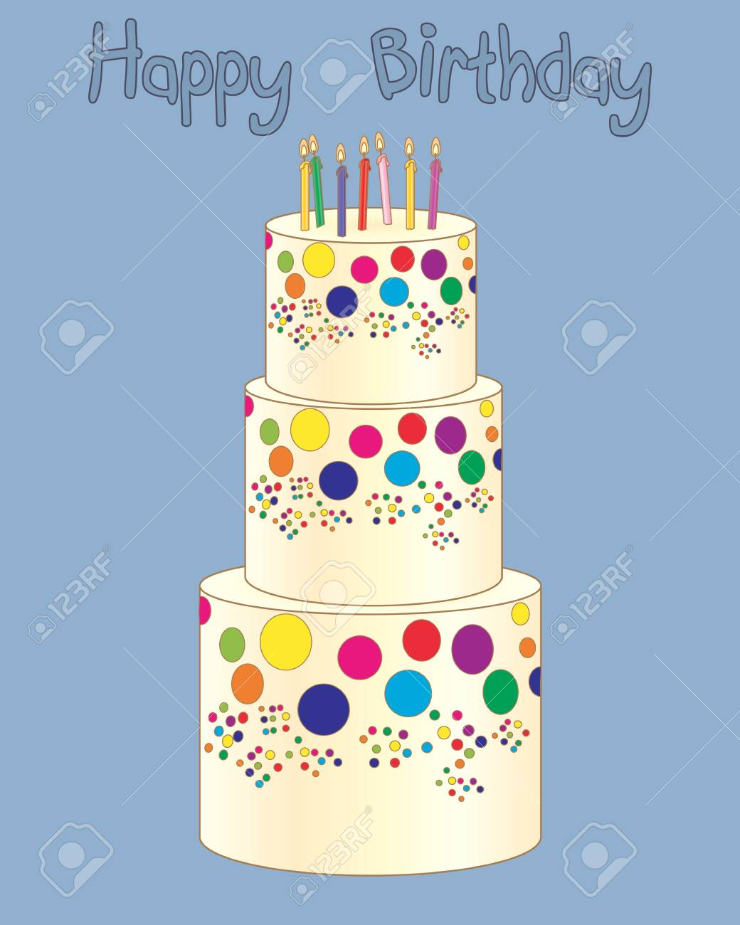 Illustration Of A Three Tier Birthday Cake With Colorful Candles Royalty Free Cliparts Vectors And Stock Illustration Image 80832482