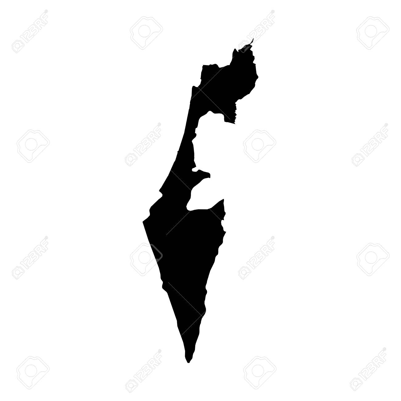 Israel Black Silhouette Map Outline Isolated On White 3D     Illustration   Israel Black Silhouette Map Outline Isolated on White 3D  Illustration