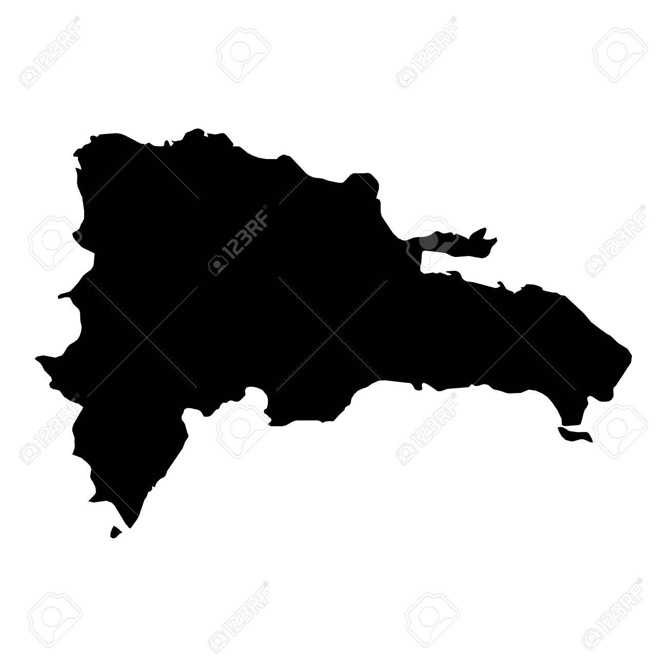 Dominican Republic Black Silhouette Map Outline Isolated On White     Dominican Republic Black Silhouette Map Outline Isolated on White 3D  Illustration Stock Illustration   81368383