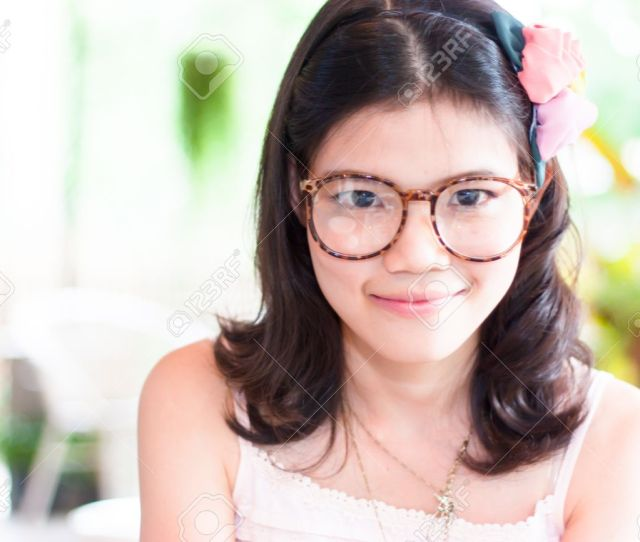 Portrait Cute Asian Girl Wearing Glasses Stock Photo