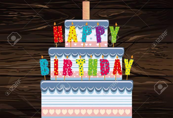 Festive Big Cakeletters Happy Birthday Greeting Card Or Invitation
