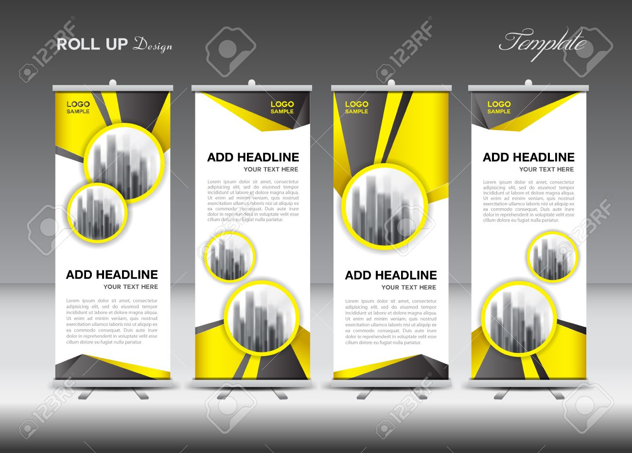 Roll Up Banner Stand Template Design Yellow Banner Layout Advertisement