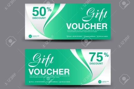 Green Gift Voucher Template  Coupon Design  Certificate  Ticket     Green Gift Voucher template  coupon design  certificate  ticket template   discount layout Stock