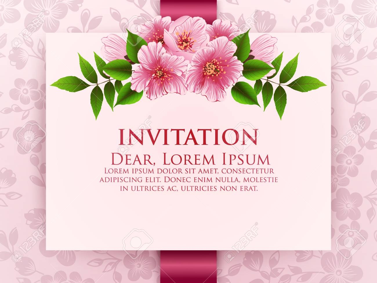 Wedding Invitation Card Vector Invitation Card With Floral Background Royalty Free Cliparts Vectors And Stock Illustration Image 76170142